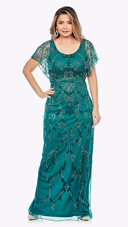 Full-length gown with beaded chiffon overlay in organic damask inspired pattern