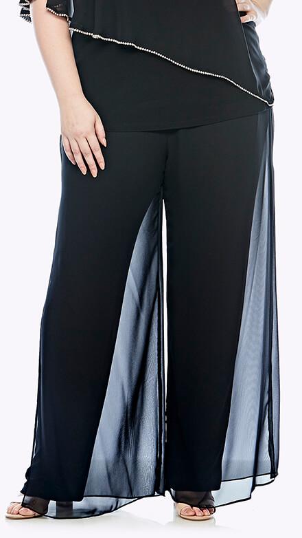 Wide leg pants with chiffon overlay