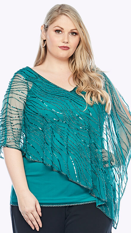 Stretch jersey top with beaded chiffon overlay in flowy organic pattern