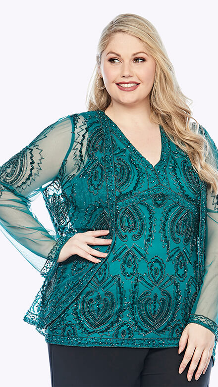 Beaded sleeveless top in damask inspired pattern with matching beaded chiffon jacket