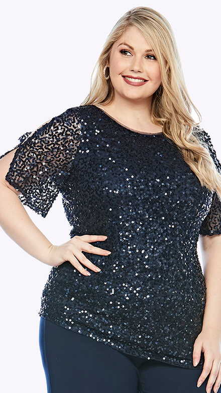 Sequined short sleeve top with split sleeve
