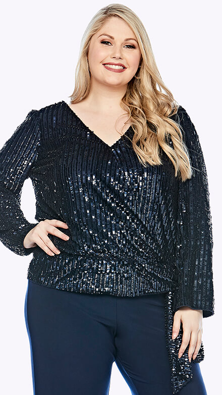 Sequined long sleeve top with tie waist