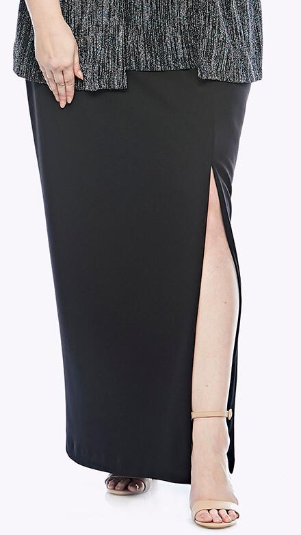 Full-length stretch jersey skirt with side split