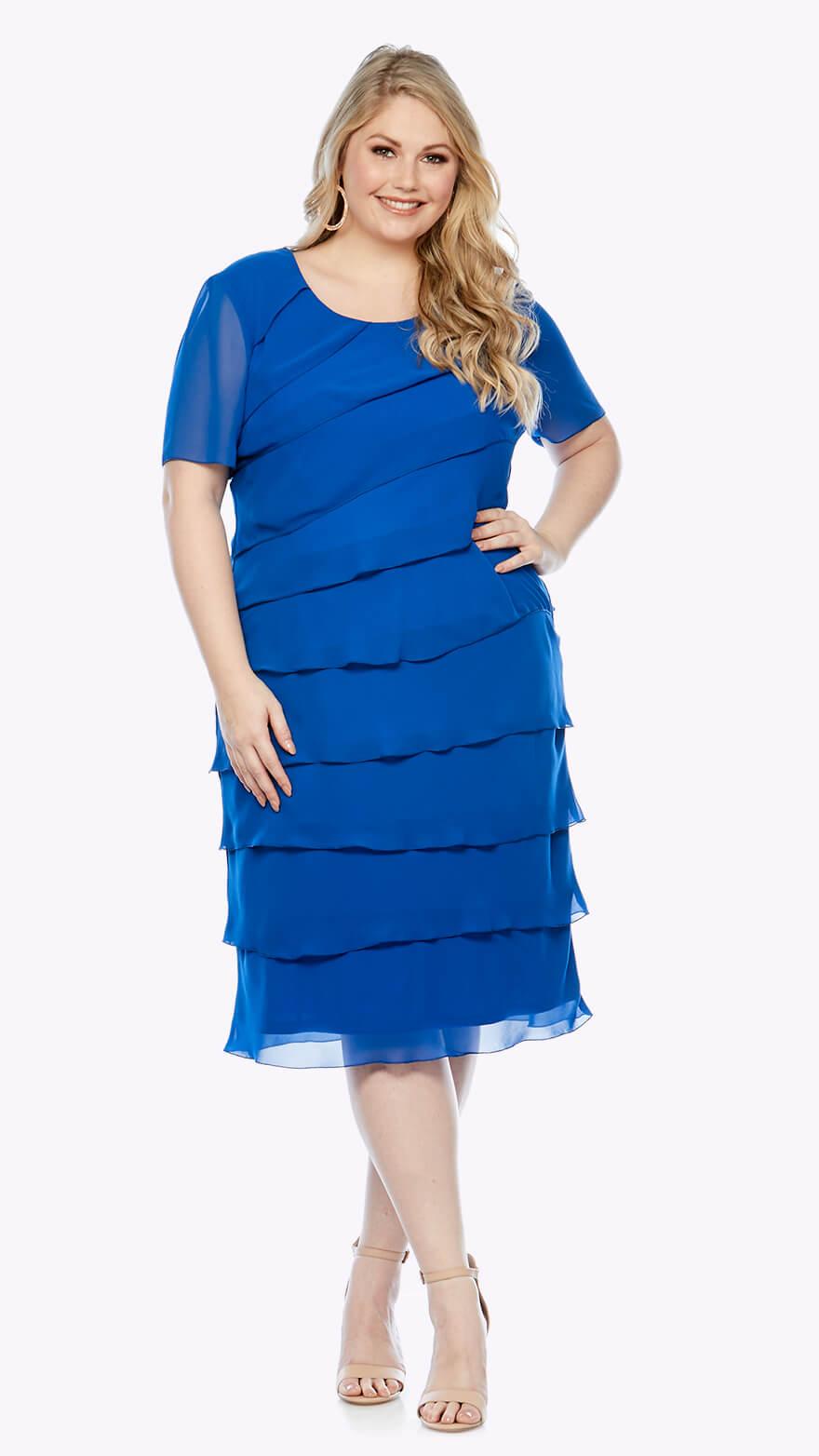 LJ0002 Chiffon layered knee-length dress with short sleeves