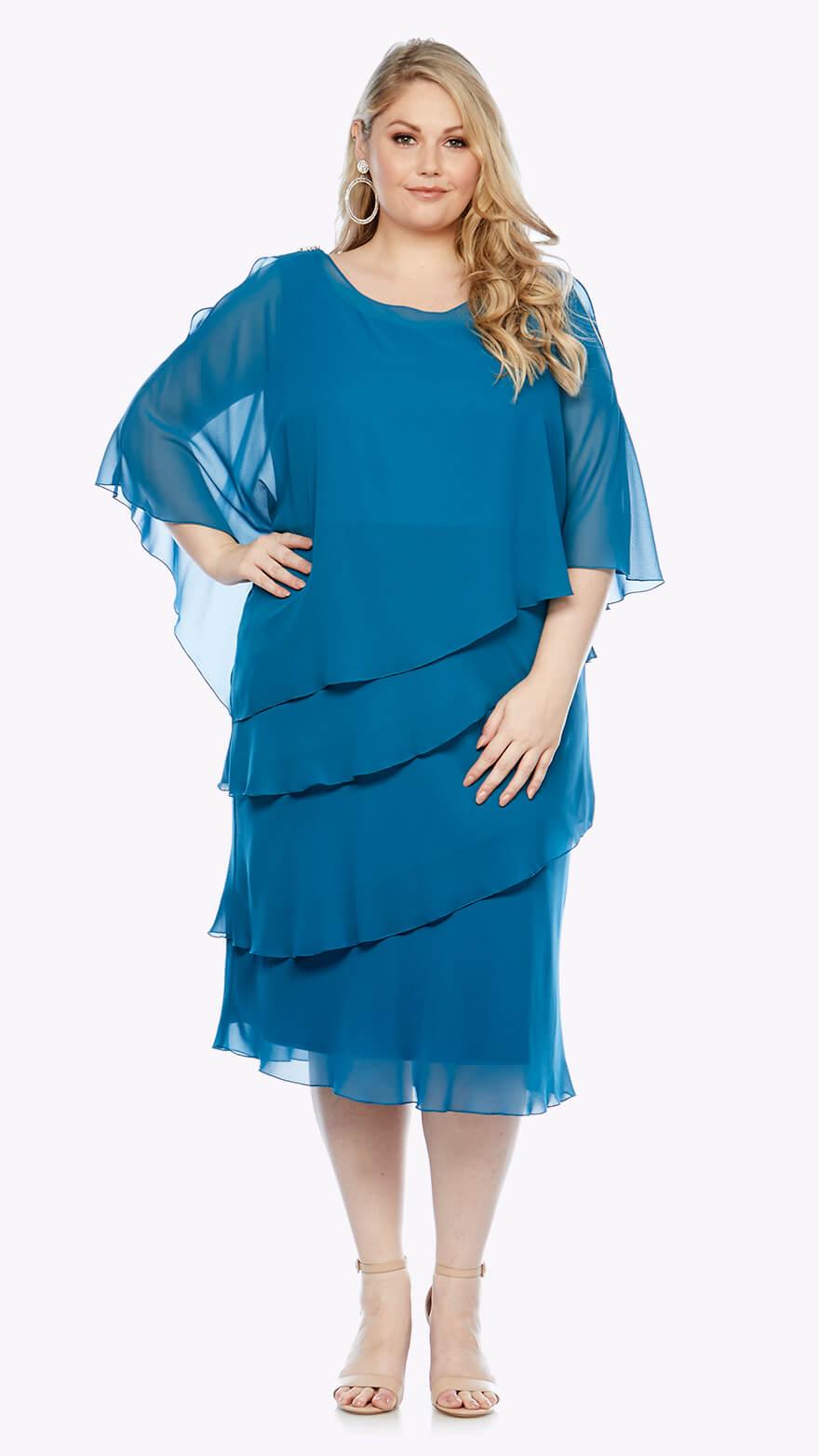 LJ0003 Chiffon layered knee-length dress with overlay and split sleeve detail