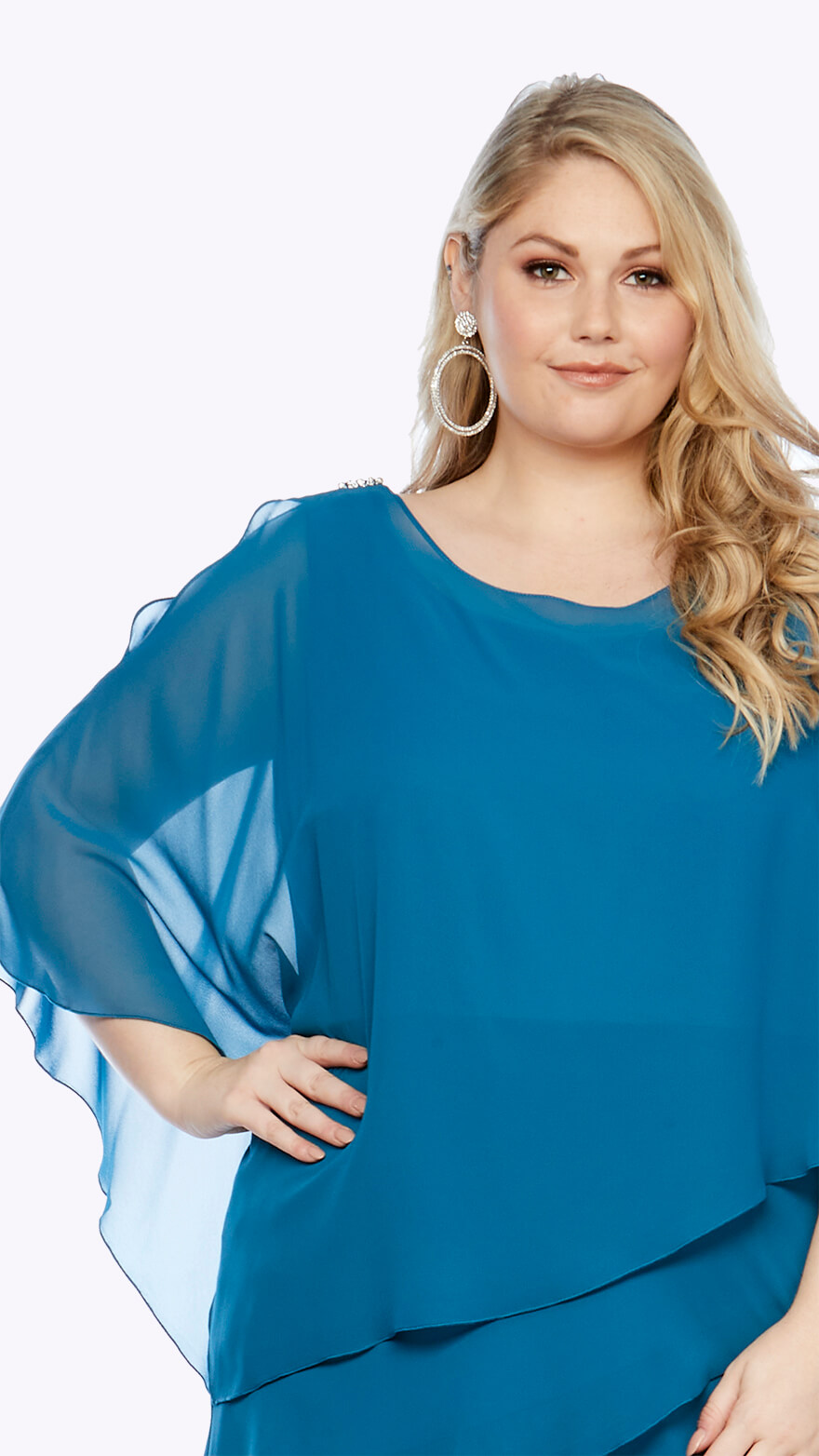 Detail of Chiffon layered knee-length dress with overlay and split sleeve detail