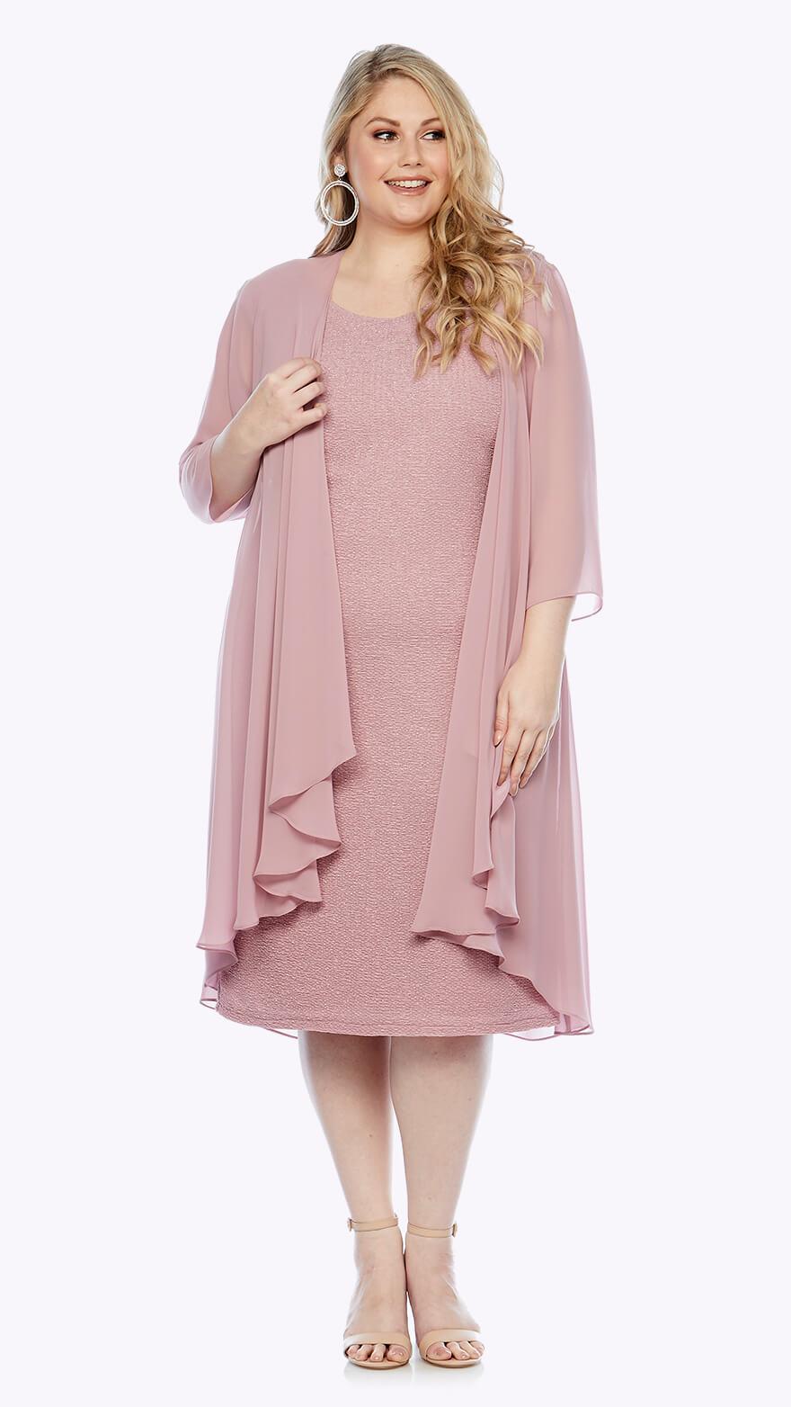 LJ0006 Knee-length stretch lurex dress with matching waterfall chiffon jacket