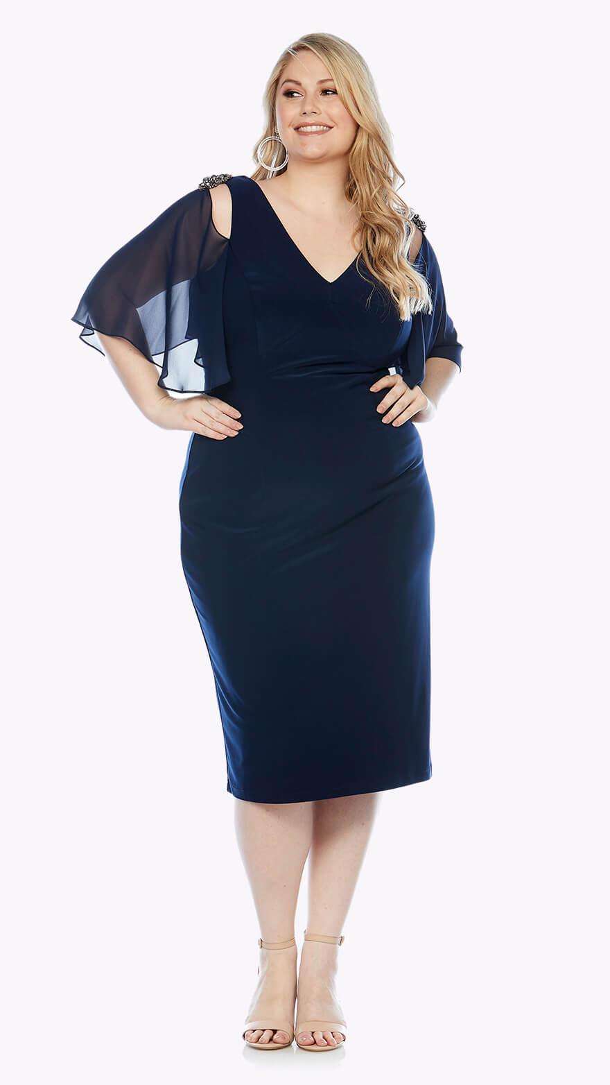 LJ0142 Knee-length stretch dress with flounced chiffon sleeve and diamanté shoulder trim