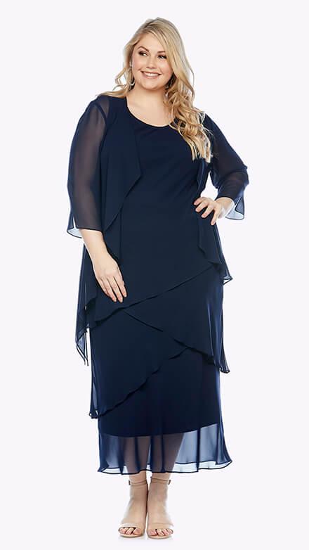 Layered full-length dress with matching waterfall chiffon jacket