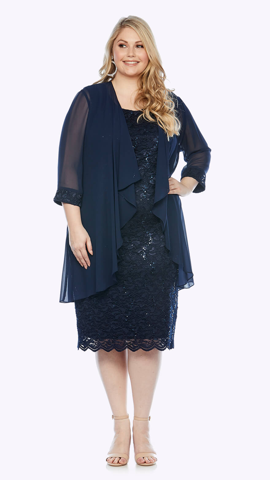 LJ0181 Mid-length sequin embroidered dress with scallop hem and 3/4 waterfall jacket and matching embroidered cuffs