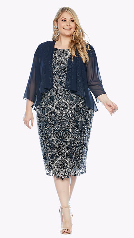 Cocktail corded lace dress with 3/4 chiffon waterfall jacket