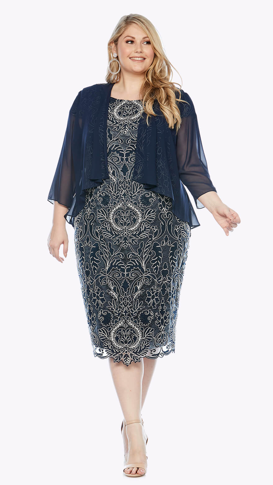 LJ0225 Cocktail corded lace dress with 3/4 chiffon waterfall jacket