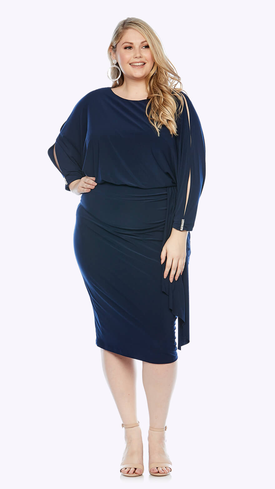 LJ0270 Blouson style knee-length dress with wrap style skirt and open 3/4 sleeve