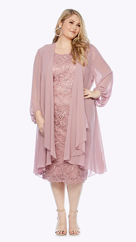 Embroidered lace dress with full-length chiffon jacket