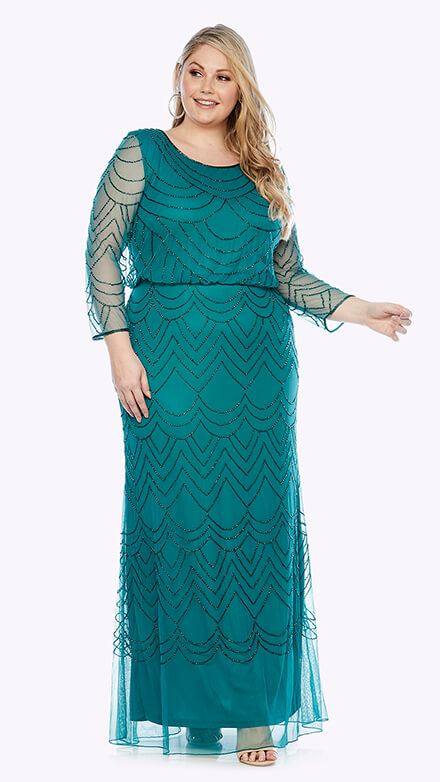 Full-length 3/4 sleeve blouson style beaded gown in scallop pattern