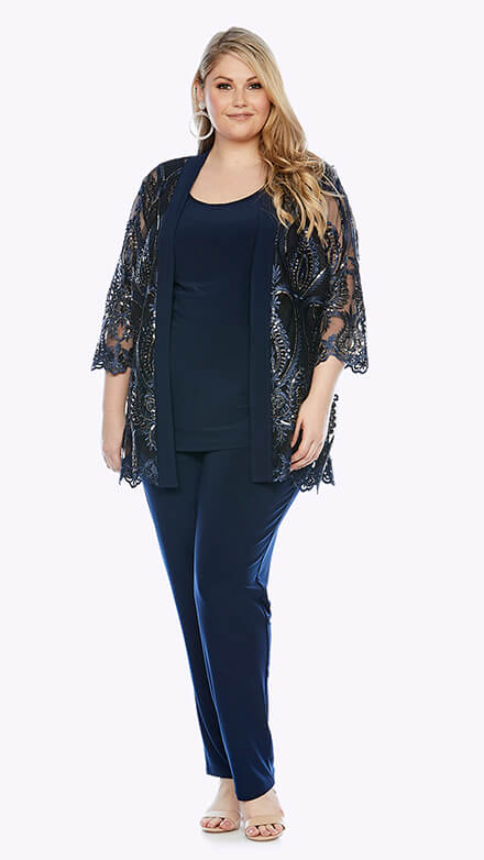 A three-piece pantsuit with embroidered lace jacket with 3/4 sleeves