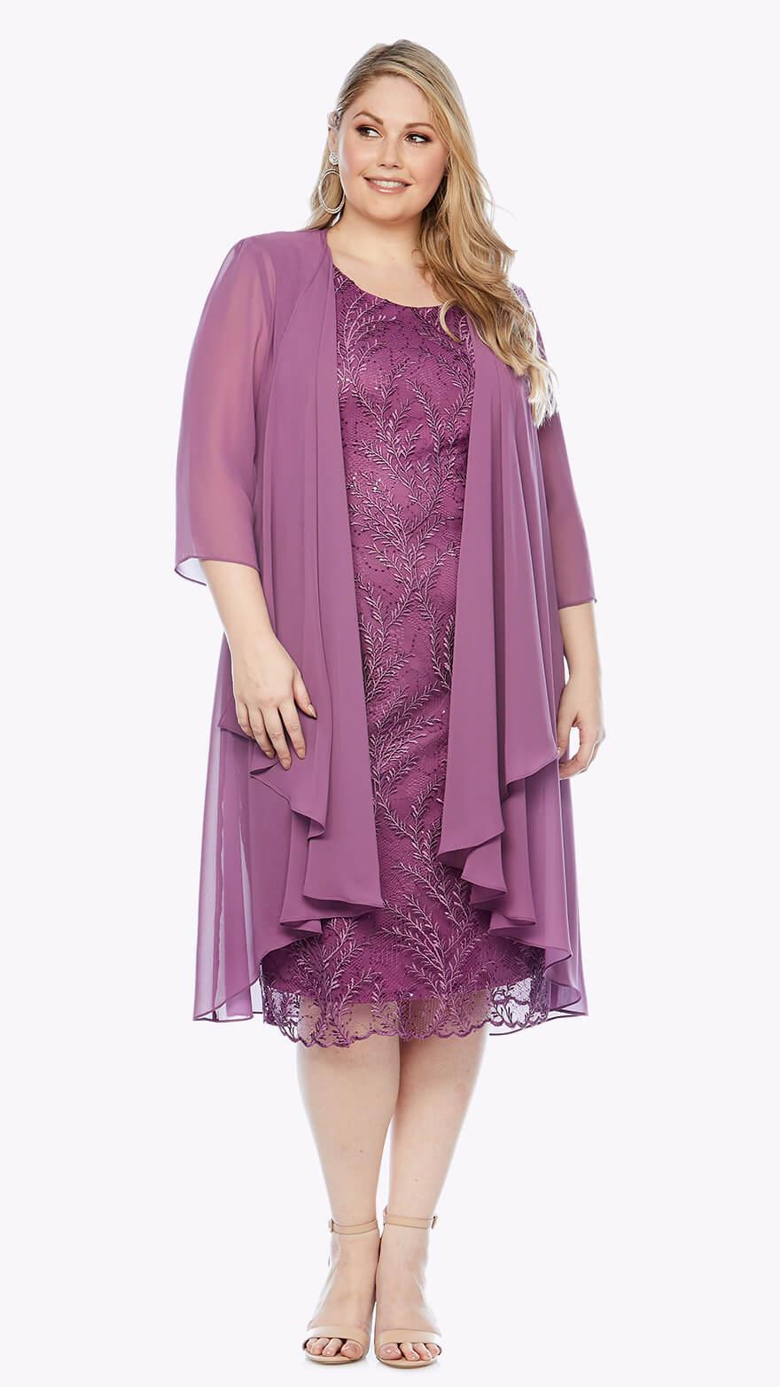 LJ0345 Embroidered lace dress with long chiffon jacket