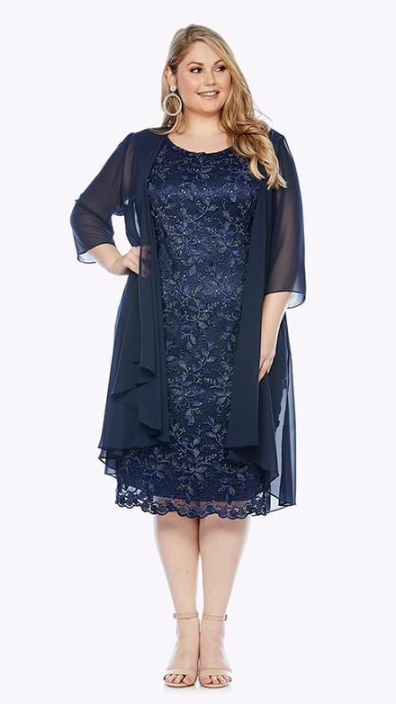 Embroidered lace dress with long chiffon jacket