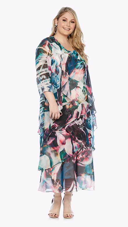 Layered full-length dress with matching waterfall chiffon jacket in graphic print
