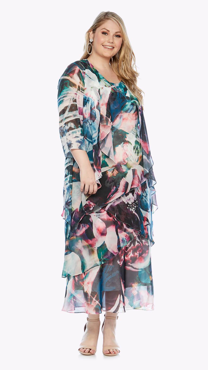 LJ0348 Layered full-length dress with matching waterfall chiffon jacket in graphic print
