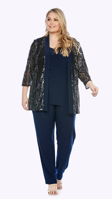Three-piece pantsuit with embroidered lace jacket with 3/4 sleeves