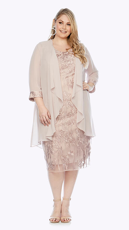 Knee-length graphic floral lace dress with matching waterfall chiffon jacket