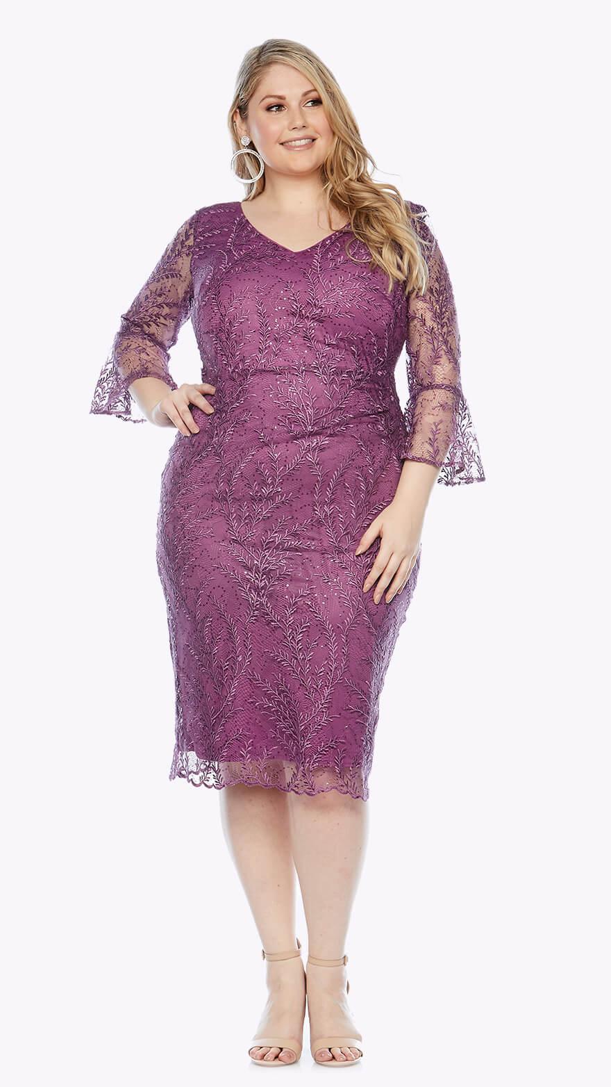 LJ0351 Knee-length dress with beautiful bell sleeves