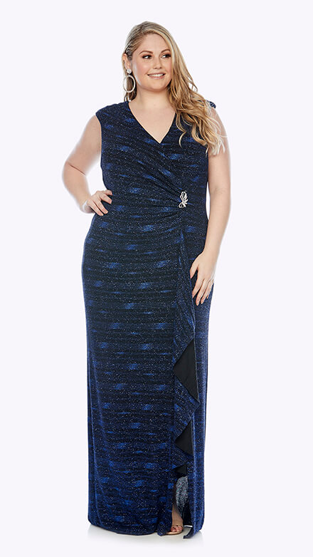 Shimmer wrap style full-length gown with silver brooch detail at waist