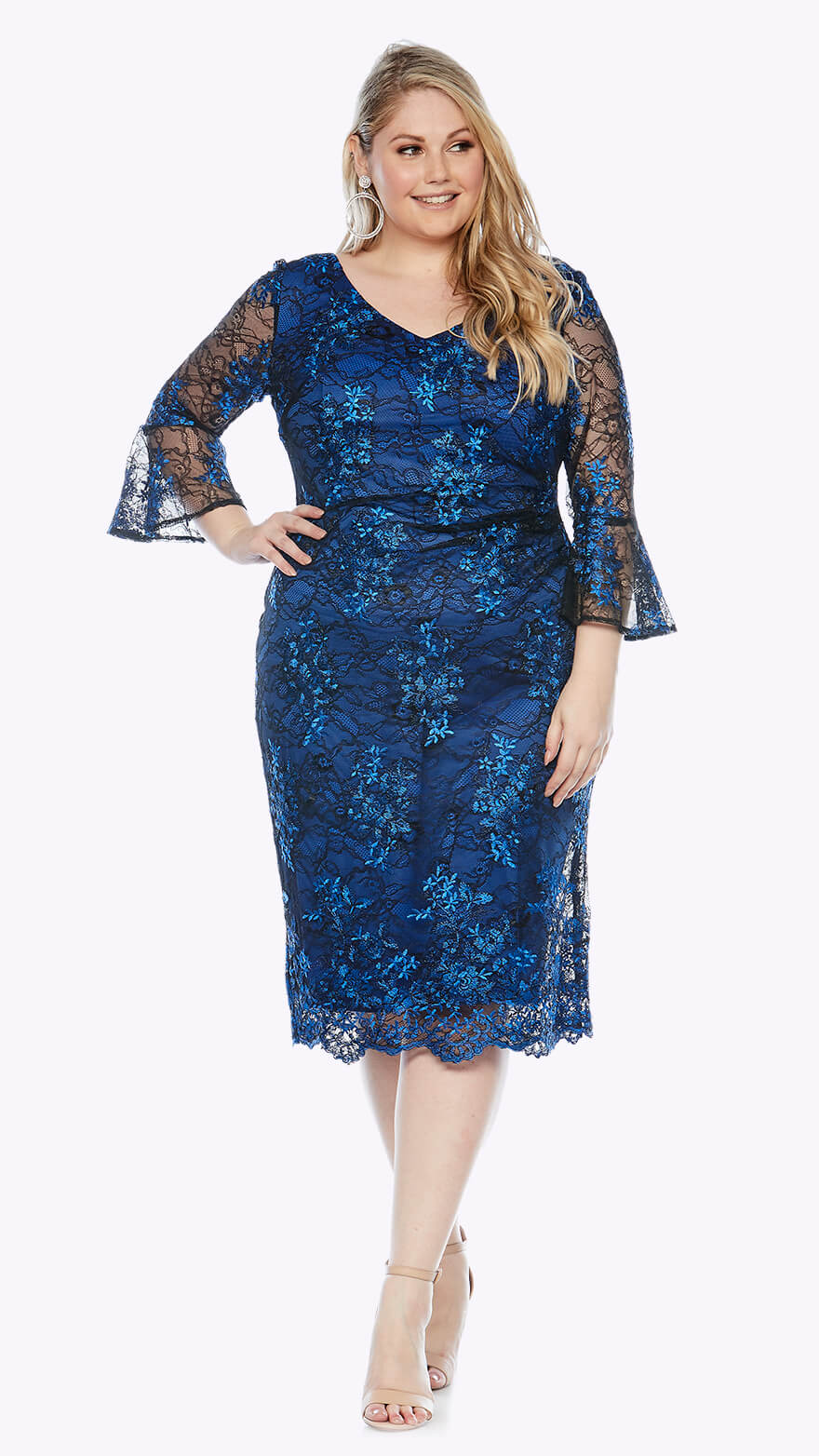 LJ0354 Knee-length lace dress with beautiful bell sleeves and ruched waist