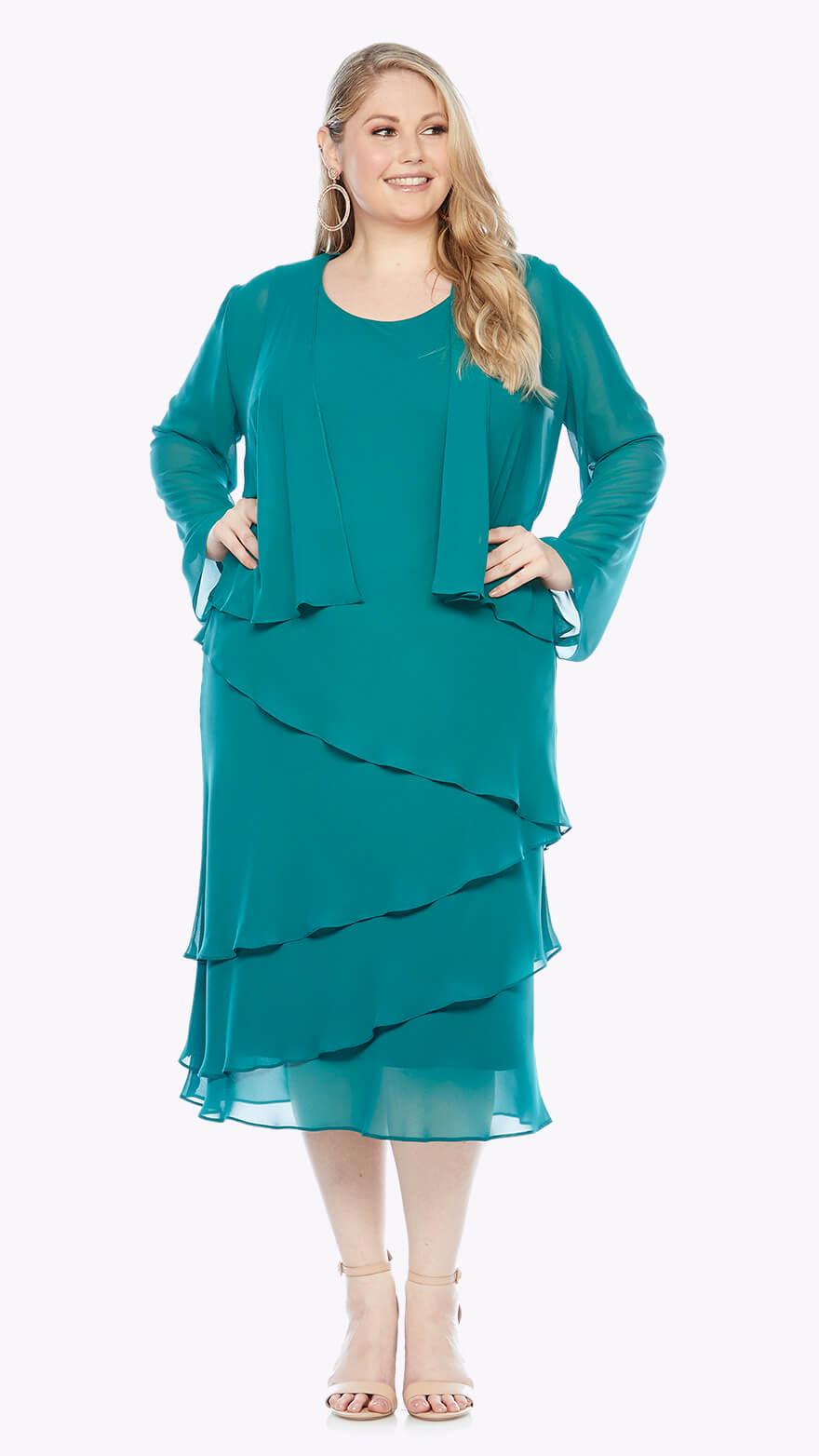 LJ0359 Chiffon layered knee-length dress with matching jacket