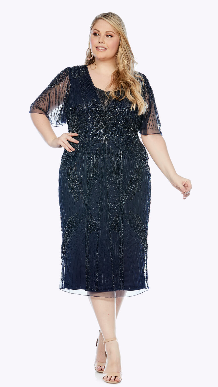 LJ0360 Knee-length beaded gown with soft flowy chiffon sleeve
