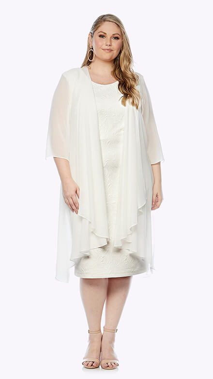 Mid-length stretch embroidered dress and chiffon waterfall jacket