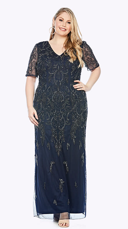 Full-length gown with beaded chiffon overlay in damask inspired pattern