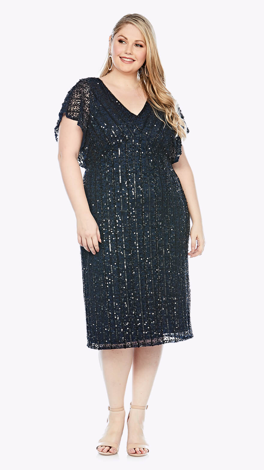 LJ0367 Mid-length beaded dress with soft beaded short sleeve