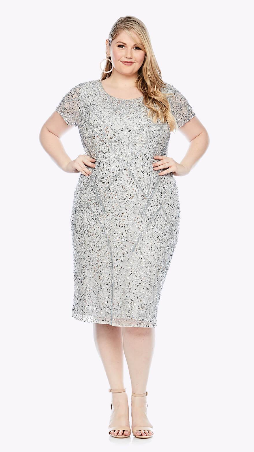 LJ0368 Mid-length dress in geometric beaded design with short sleeve