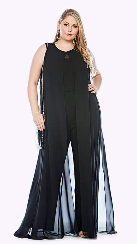 Wide leg jumpsuit with chiffon overlay