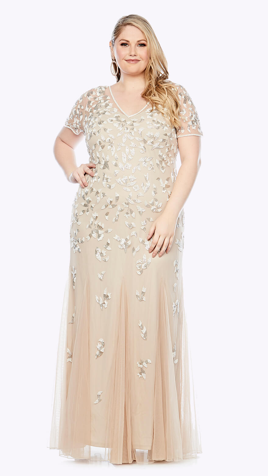 LJ0372 Full-length gown in embroidered chiffon with sweetheart style bodice