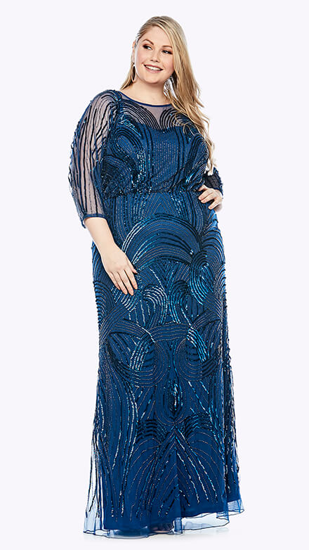 Blouson style gown with 3/4 length sleeve in graphic organic beaded pattern