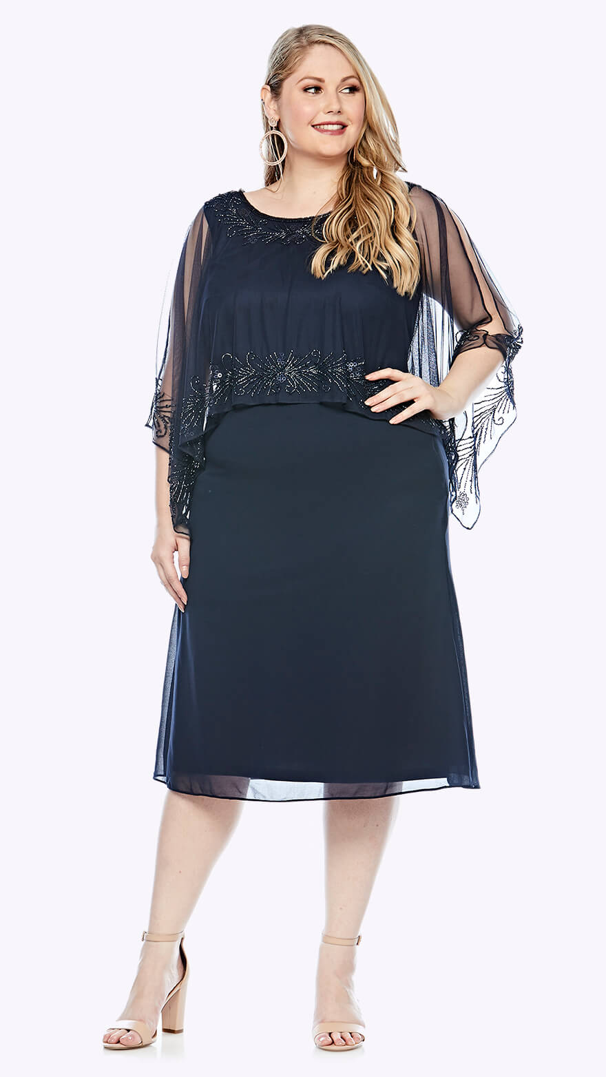 LJ0375 Mid-length dress with chiffon overlay and beaded trim
