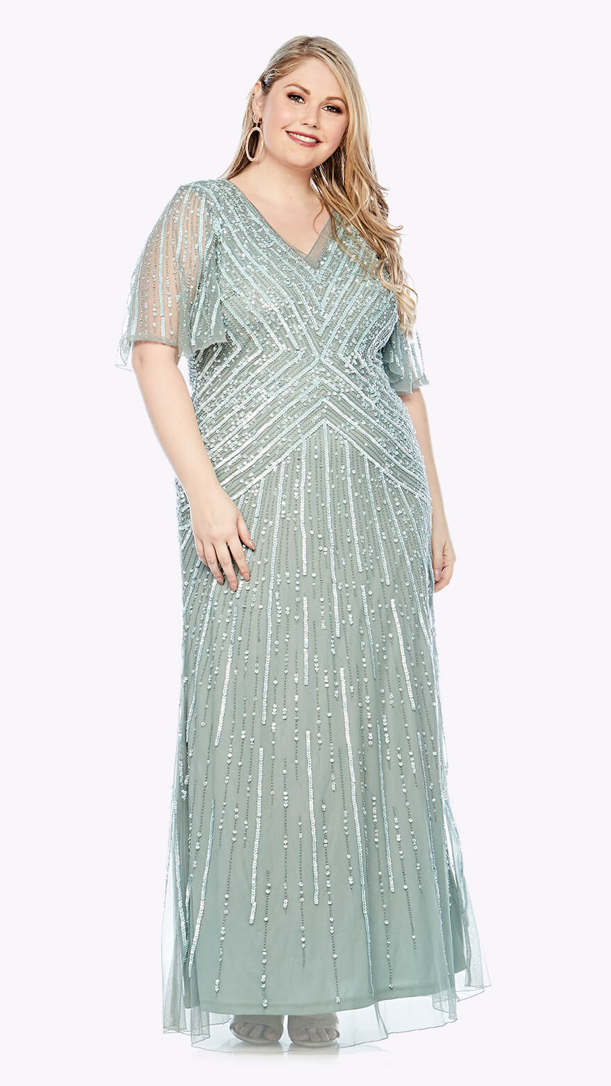 LJ0376 Full-length beaded gown with soft flowy chiffon sleeve
