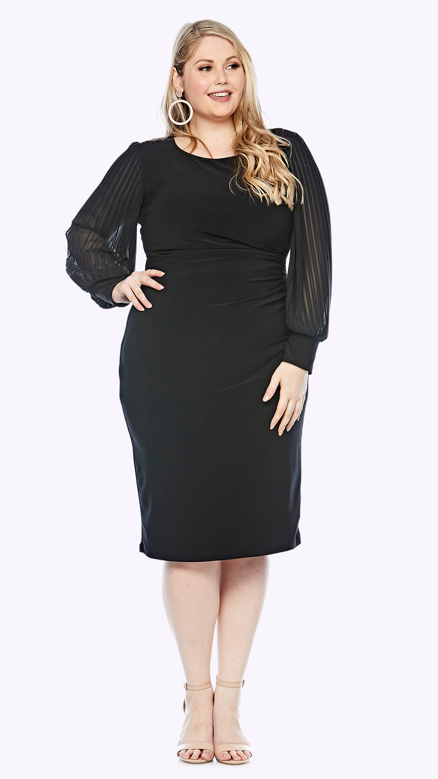 LJ0381 Mid-length shift dress with round neckline and full chiffon sleeve with cuff
