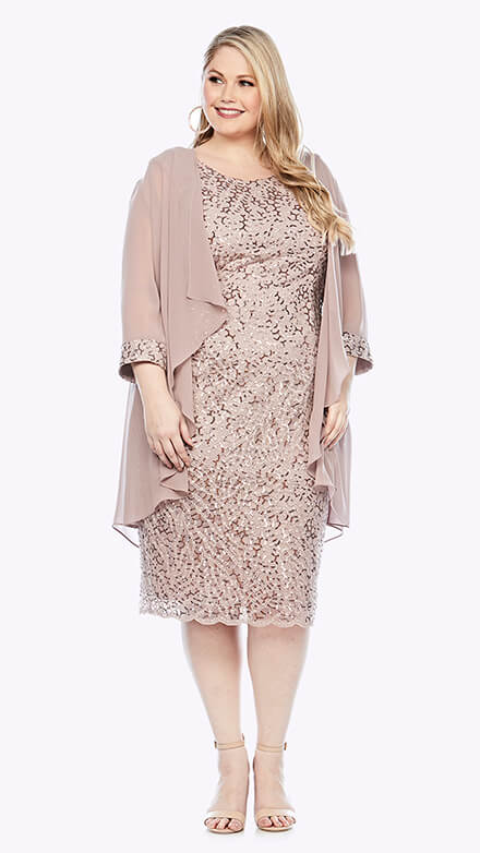 Mid-length sequin embroidered dress with scallop hem and 3/4 waterfall jacket with matching embroidered cuffs
