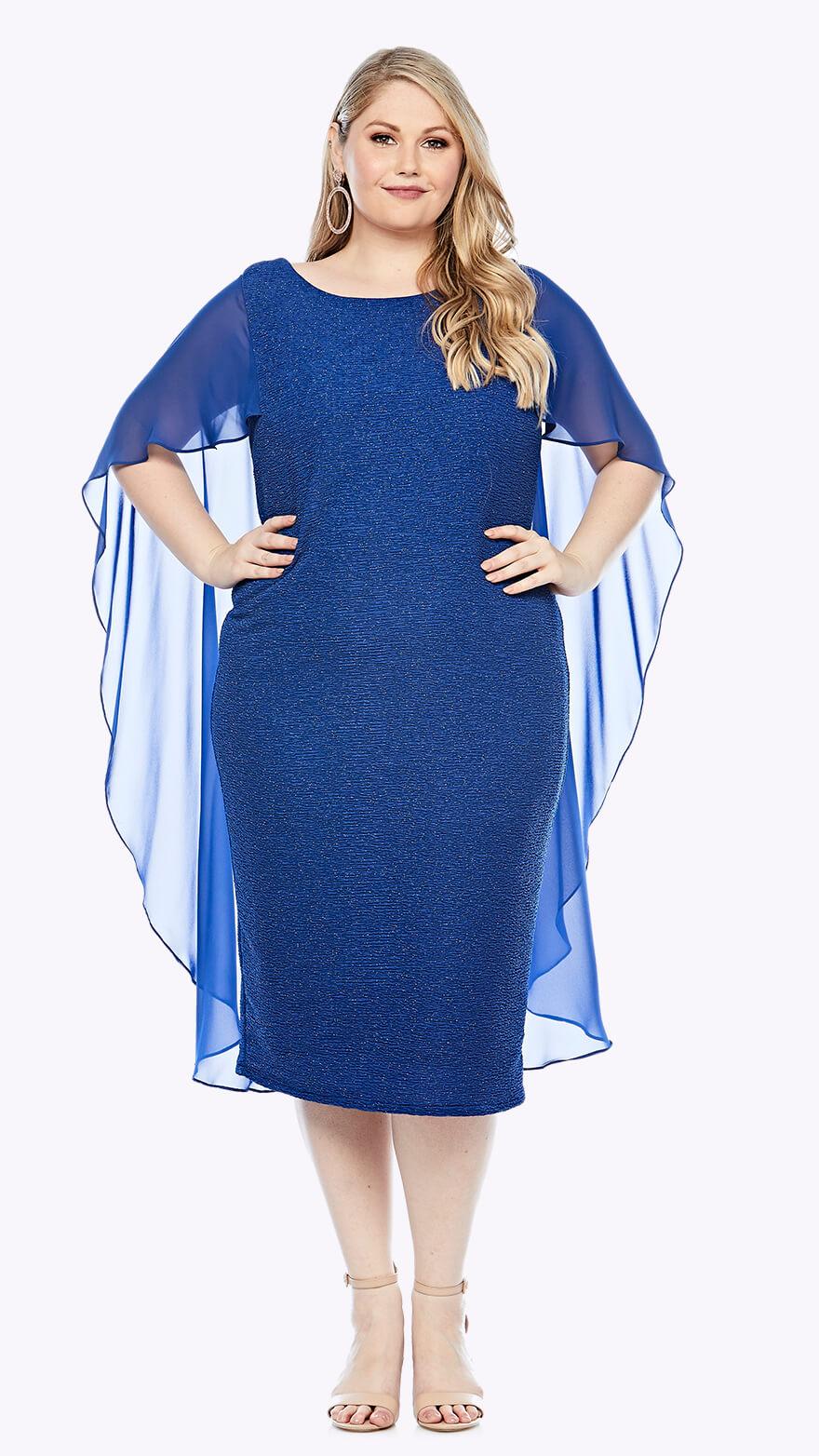 LJ0386 Knee-length stretch lurex dress with chiffon cape
