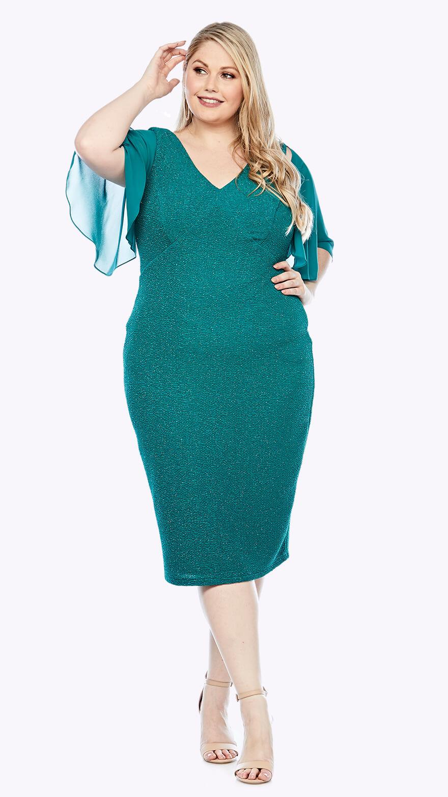 LJ0387 Knee-length stretch lurex dress with flounced chiffon sleeve