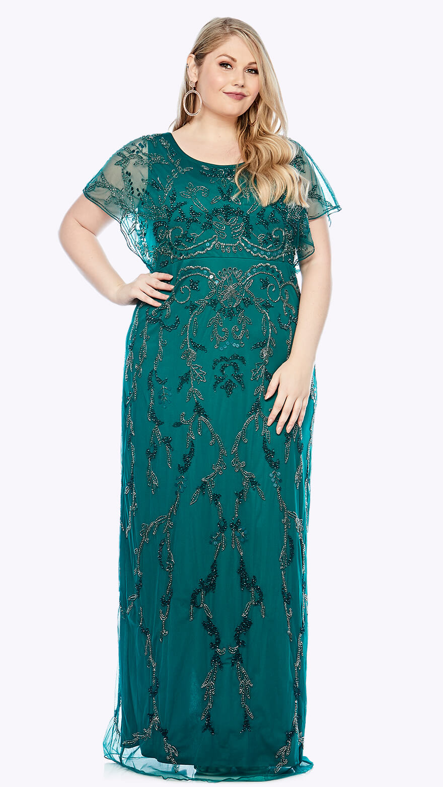 LJ0390 Full-length gown with beaded chiffon overlay in organic damask inspired pattern