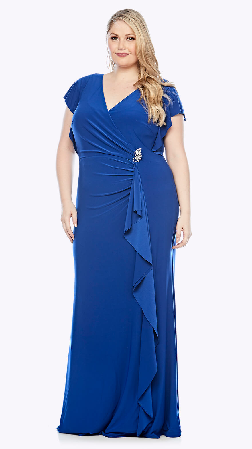 LJ0391 V neck wrap style gown with brooch detail