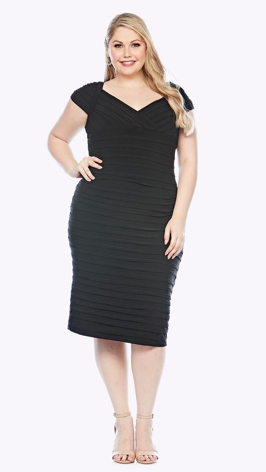 LJ0392 Knee-length bandage dress with cap sleeve and V neckline