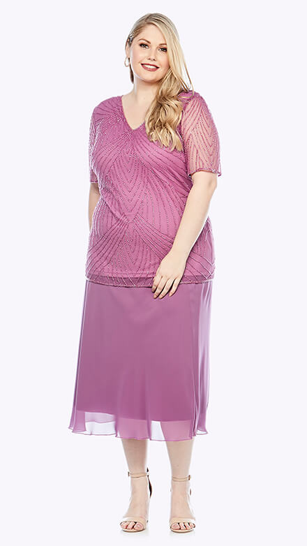 Twinset with knee-length chiffon skirt and beaded V neck short sleeve top