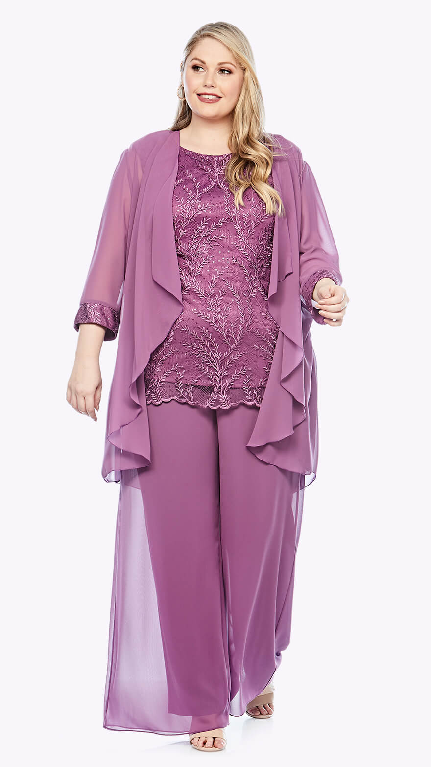 LJ0400 Three-piece outfit with lace top and scalloped hem, matching waterfall jacket, and chiffon layered pants