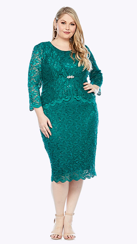 Mid-length stretch embroidered sequin dress with scallop hemline and matching 3/4 length jacket